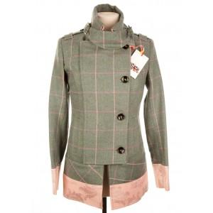 Brocade Trim Military Jacket: Fairfield Tweed