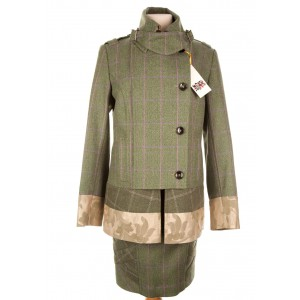 Brocade Trim Military Jacket: Hulme Tweed