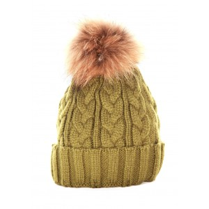 Green Cable Pom Pom Hat