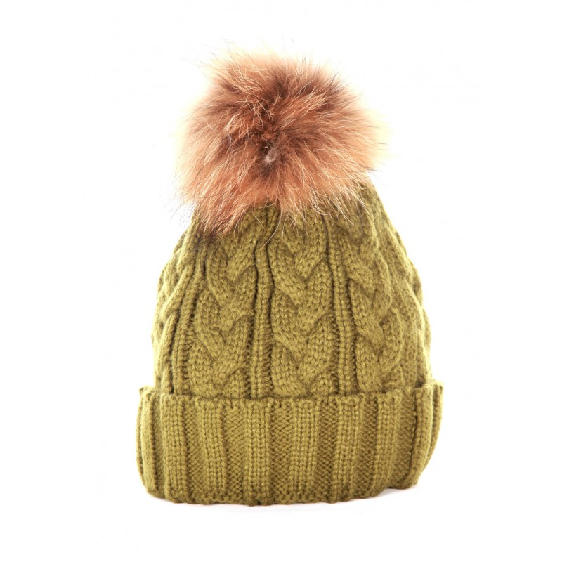 Green Cable Pom Pom Hat 648297d9463