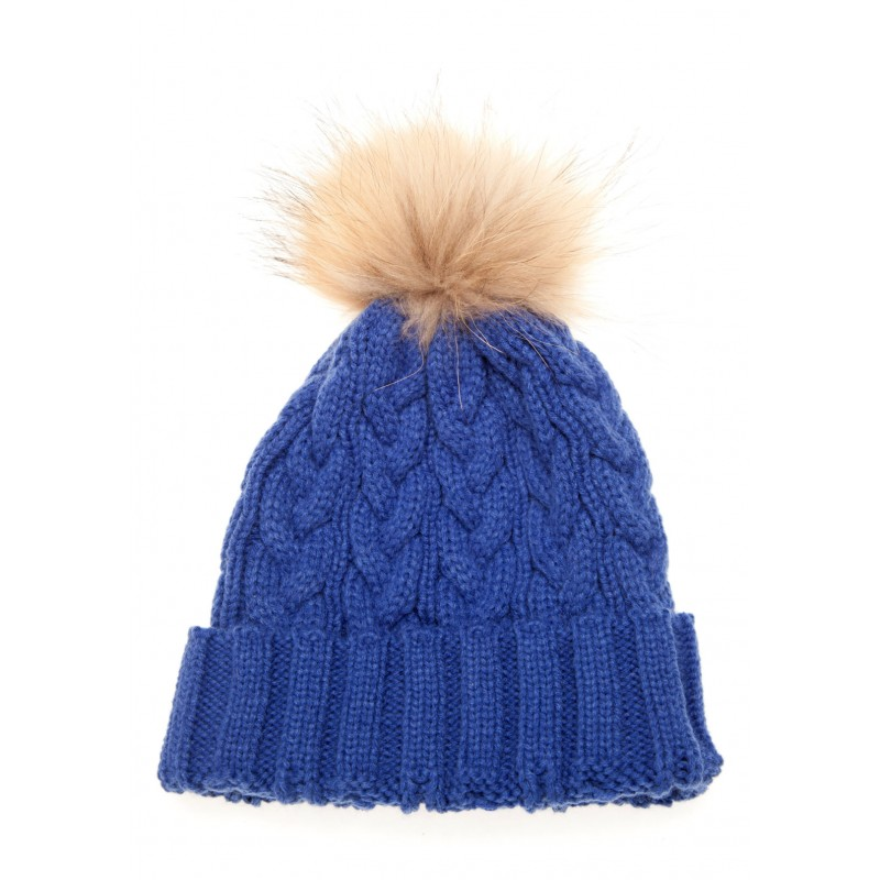 Royal Blue Cable Pom Pom Hat e4be6a8b972