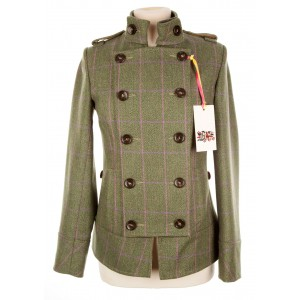 Tab Collar Military Jacket: Hulme Tweed