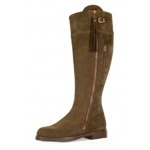 Olive Suede Leather soled Boots