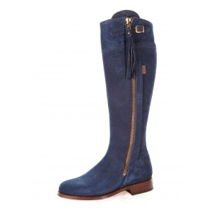 Navy Blue Suede Leather soled Boots