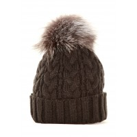 Black Cable with Silver Fox Pom Pom Hat