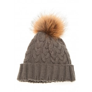Dark Grey Cable Pom Pom Hat