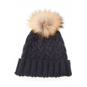 Navy Cable Pom Pom Hat