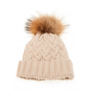 Oatmeal Cable Pom Pom Hat