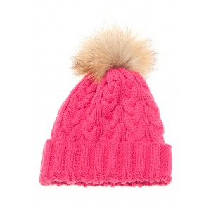 Pink Cable Pom Pom Hat