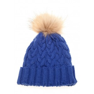 Royal Blue Cable Pom Pom Hat